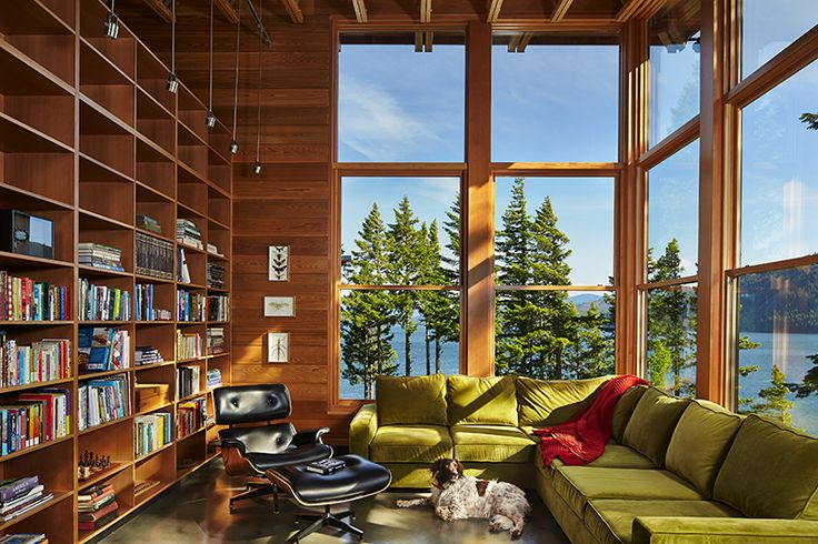 ://design-milk.com/cabin-washington-perfectly-. I have simple needs really. Just a house with a library ... & Green with envy (the home library and swimming pool edition ...